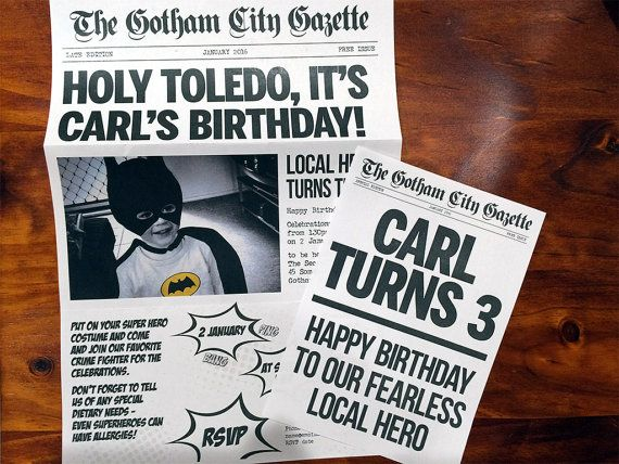 batman inspired superhero newspaper invitation template for your batman  u0026 batgirl birthday or