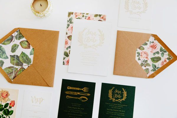 Floral Calligraphy Romantic Wedding Invitations AllieRuth Design3 Sara + Bobs Romantic Floral Wedding Invitations