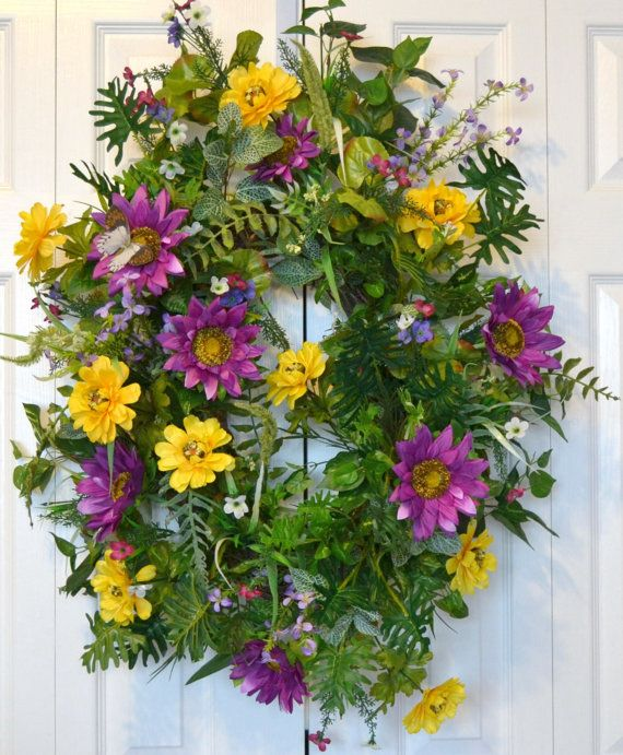 Hey, I found this really awesome Etsy listing at https://www.etsy.com/listing/229067314/sunflower-wreath-home-living-home-decor