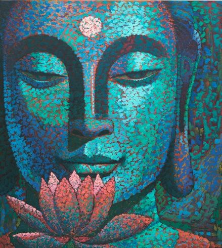 """""""Whenever you are about to find fault with someone, ask yourself the following question: What fault of mine most nearly resembles the one I am about to criticize?"""" ~ Quote from Marcus Aurelius. Art work 'Face of Buddha' by Virginia Peck"""