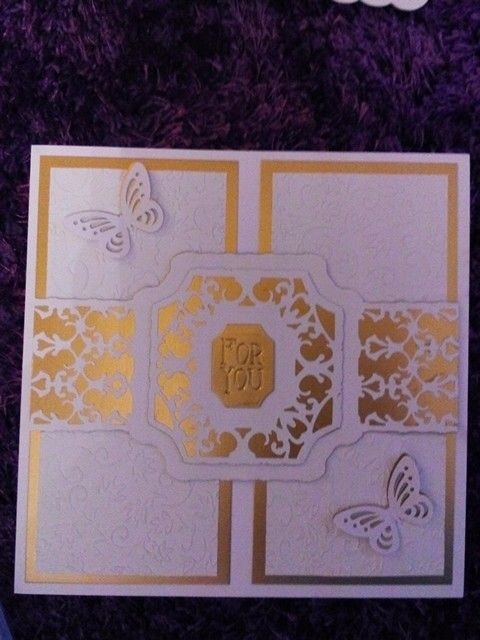 Mothers day card 2015 using tonic dies and embossing folder with spellbinder butterflies.
