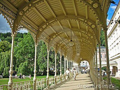This is Sadova kolonada (Garden colonnade) in Karlovy Vary, Czech republic. Next to it, there's the Dvorak garden.