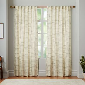 Cotton Canvas Etched Grid Curtain - Slate #westelm    Bought these on sale for my office! - love!