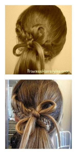 Pinterest fishtail braid bow ponytail hairstyle tutorial