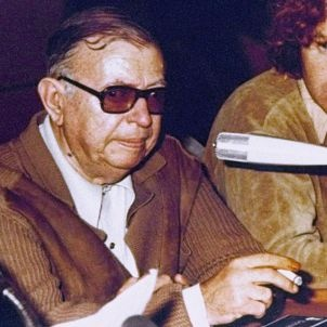 Jean-Paul Sartre after his visit with Andreas Baader in 1974