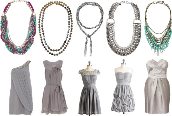 """Grey Bridal Party with Statement Necklaces"" www.stelladot.com/elizabeth"