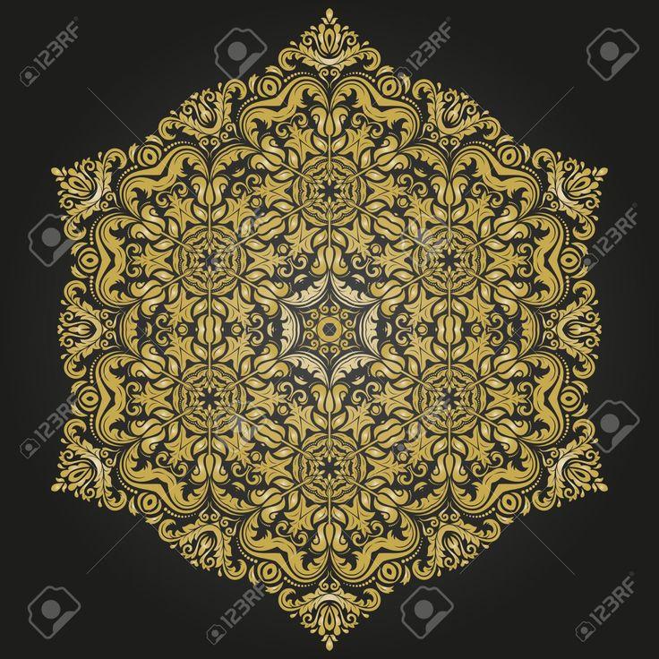 Damask Vektör Arabesk Ve Oryantal Unsurları Ile çiçek Deseni. Arka Planlar Için…