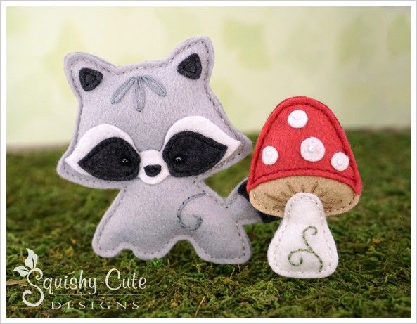 Raccoon sewing pattern - baby raccoon stuffed animal pattern - felt ornament or woodland mobile plushies