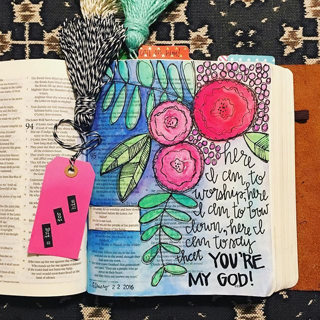 Bible Journaling by Kaylee King @wethreekingsillustrated | Psalm 95
