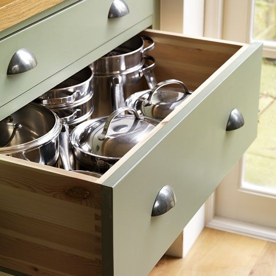 Pan drawers | Step inside this traditional soft green kitchen | Reader kitchen | PHOTO GALLERY | Beautiful Kitchens | Housetohome