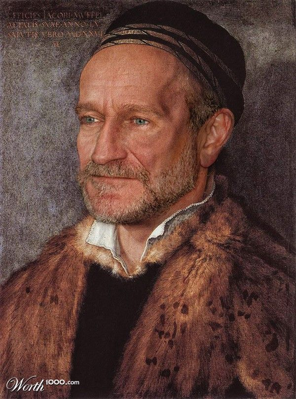 Celebrities in Classic Paintings - Robin Williams --- ...some of these are... interesting lol Some are better done than others, but a playful idea.