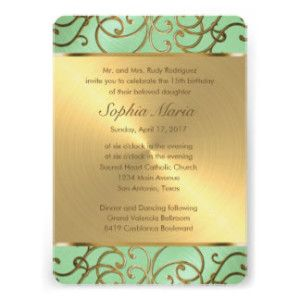 Zazzle Quinceanera Invitations in Mint and Gold