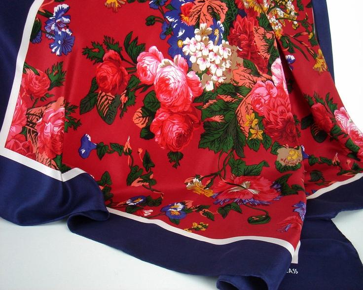Vintage Bill Blass Silk Shawl Scarf floral blue red.