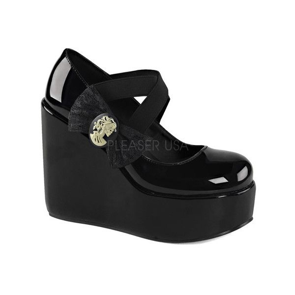 Women's Demonia Poison 02 Platform Mary Jane ($67) ❤ liked on Polyvore featuring shoes, flats, casual, casual shoes, black wedge mary janes, platform shoes, black shoes, platform flats and platform wedge shoes