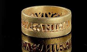 A gold ring with inscription in open work, Late Roman 4th century A.D.
