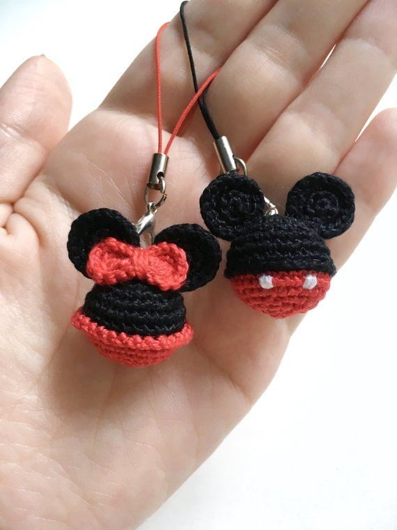 Mickey&Minnie Mouse crochet pattern Disney Minnie Mouse Keyring Mickey Mouse Key Chains Ornament pdf holiday gift pdf tutorial