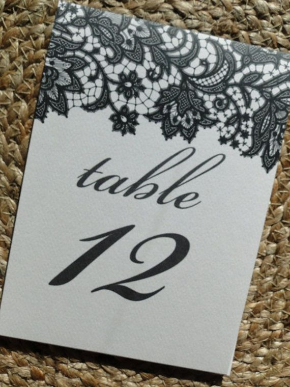 Black Lace Table Number Tent Cards by MadelineLewisDesigns on Etsy, $1.50