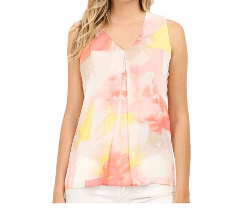"""Calvin Klein w/Invert Pleat Blouse-Gorgeous & Feminine! soft silky fabric, beautiful abstract pastel colors, woven polyester fabric, v neckline w/inverted pleat, fully lined, straight hemline, 100% polyester/lining 100% polyester, length 25"""", machine wash cold, color Latte/Koi, Century 21 (xs)"""