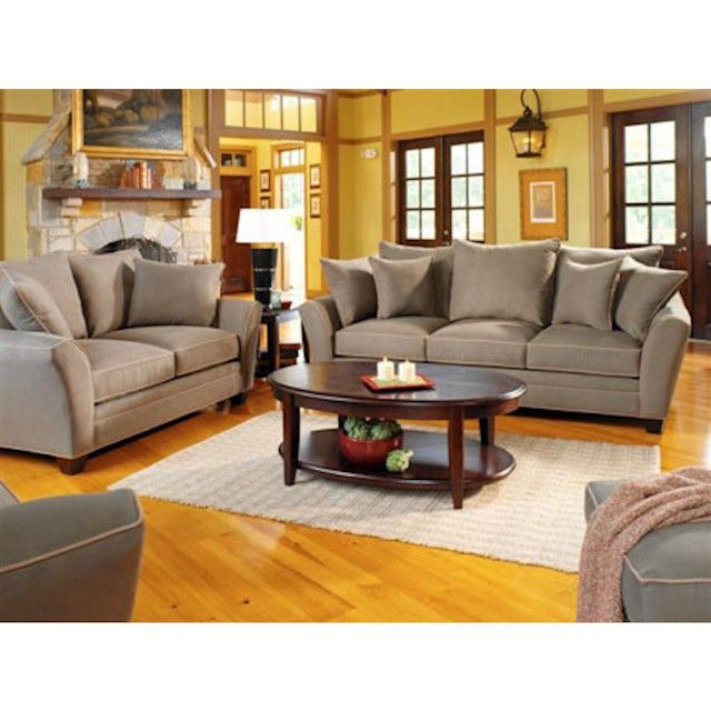 Suede Pine Living Room Set: Sofa, Loveseat And Chair
