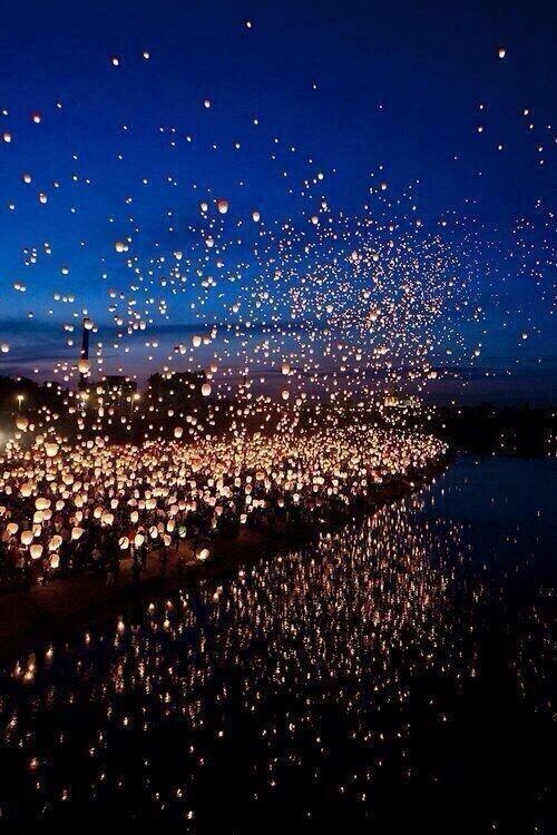 Floating lantern festival, Thailand.