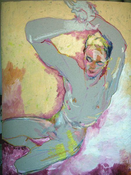 Tangye combines the water based paint and pencils together into his figure drawings, which allows he can easily shift the spaces and depict free hand lines. He uses the papers with colors as an originally part of the work itself, so that his works has less unnecessary expressions.