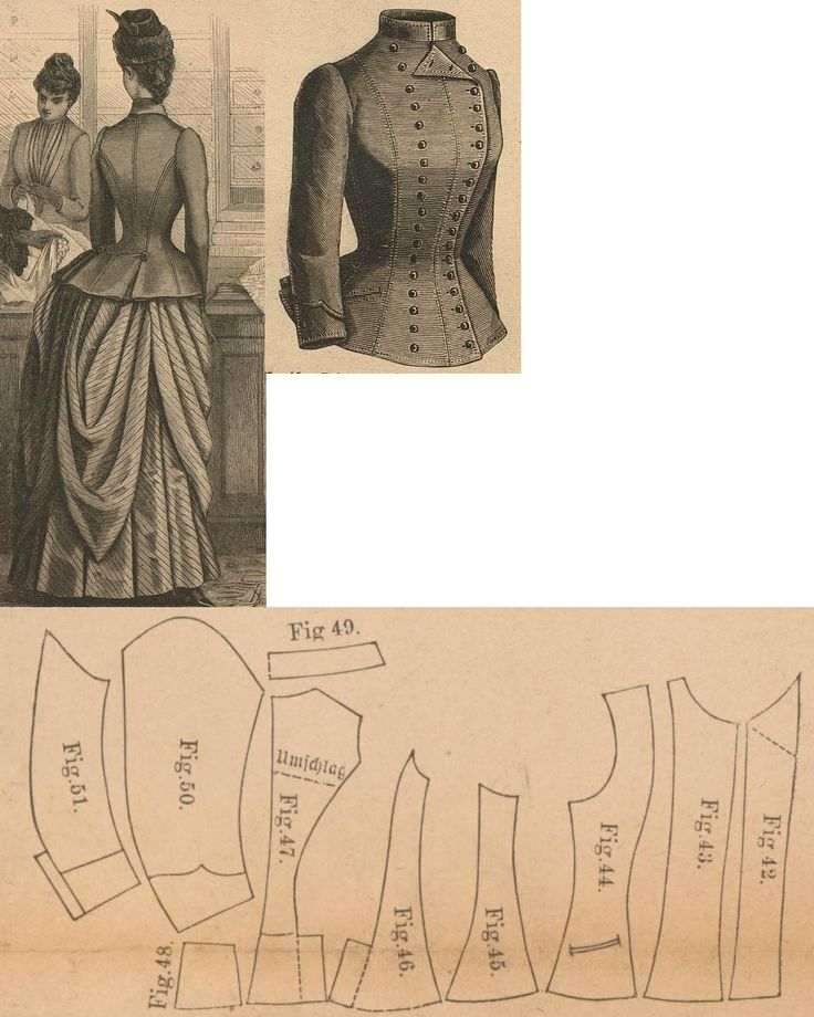 Der Bazar 1888: Springtime paletot from brown cloth with similar toned atlas lining; 42. and 43. overlaping front parts, 44. front side gore, 45. and 46. side gores, 47. back part, 48. back peplum, 49. collar in half size, 50. and 51. sleeve parts