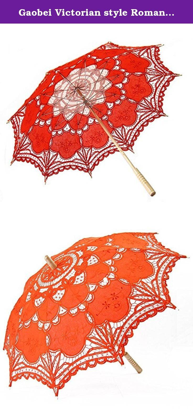 """Gaobei Victorian style Romantic Lace Umbrella Parasol for Decoration Wedding Costume Accessory Bridal Photograph Color:Orange Size: 26"""" 30"""". The victorian lace parasol cover and the wooden handle make it light and delicacy, all show the elegant temprament of the holder. Suitable for wedding bride, also for the costume players who have a passion for Victorian style to show and take photos, leaving the most beautiful moment in life. Note: 1.The real color of the item may be slightly…"""