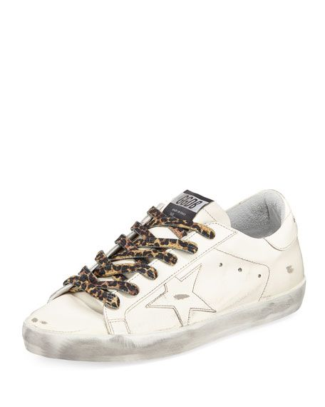 Get free shipping on Golden Goose Superstar Leather Low-Top Sneaker with  Leopard Laces at Neiman Marcus. Shop the latest luxury fashions from top  designers. a7bd8681eea2