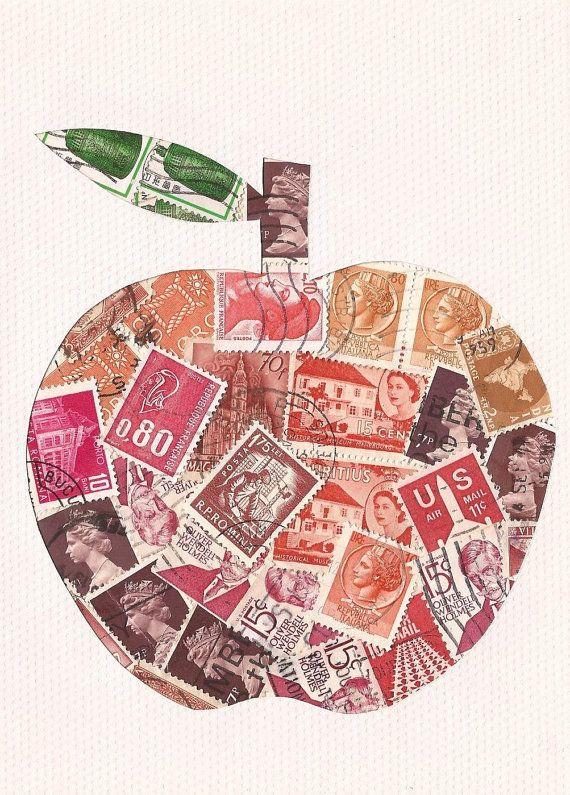 postage stamp collage art | Apple Postage Stamp collage, Retro folk art style, 5x7 inch (AW02)