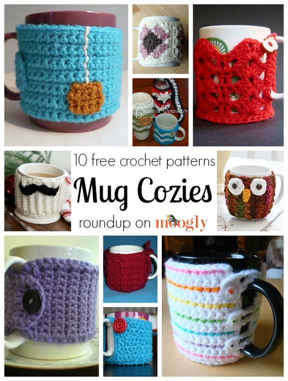 10 Free Crochet Mug Cozy Patterns! Keep the morning cuppa you've poured nice and warm with these 10 Free Patterns! http://sussle.org/c/Crochet/1392137353.9758