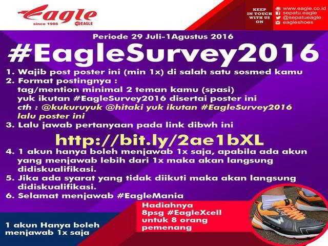 Eagle Survey 2016 Berhadiah 8 Pasang Sepatu Eagle - Hai sobat MisterKuis! Mister ingin berbagi info survey berhadiah sepatu Eagle nih. Periode survey ...