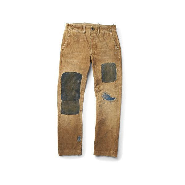 Ralph Lauren Rrl Distressed Corduroy Work Pant ($490) ❤ liked on Polyvore featuring men's fashion, men's clothing, men's pants, men's casual pants, ralph lauren mens pants and mens corduroy pants