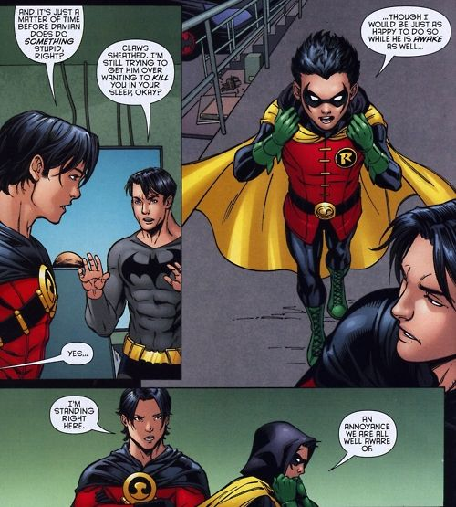 Dick, Tim, and Damian. I love Tim and Damian's banter! (If you can call it that)