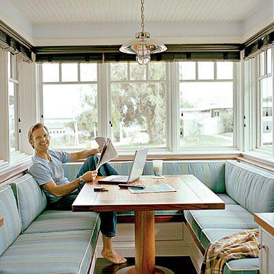 Love breakfast nooks :): Dining Room, Idea, Window, Breakfast Nooks, Built In, Bench, Kitchen Nook, House
