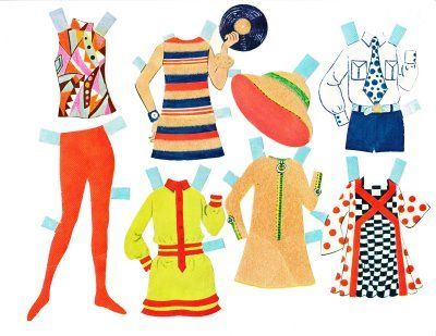 The Paper Collector: Tini Mods paper doll, Vintage Funky Paperdolls, Printable Paper Doll Patterns, Paper Dolls, Paper, Kids Activities Printables, Cool teen crafts