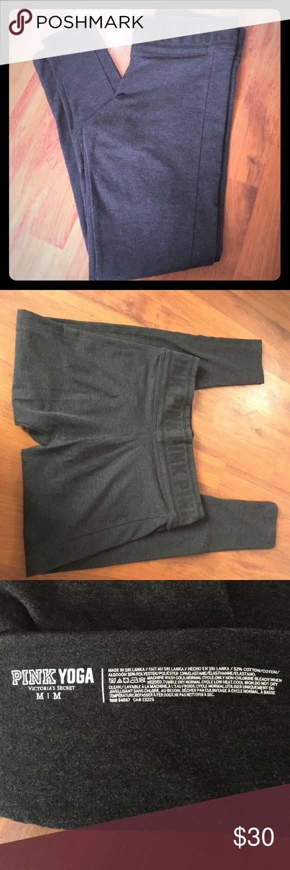 "Victoria's Secret Pink Yoga Leggings These leggings are a part of Victoria's Secret Pink Yoga line. They're a size medium, but they're a little tighter than I like (I usually wear an 8-10 pant), so I only wore/washed them once. The color is a dark/charcoal gray. There is a ""stripe"" down the outside of each leg, but it's the same material - I think it gives the pants an athletic look, but they can also be worn out with a nice shirt. There's also a convenient pocket on the waistband to hold…"