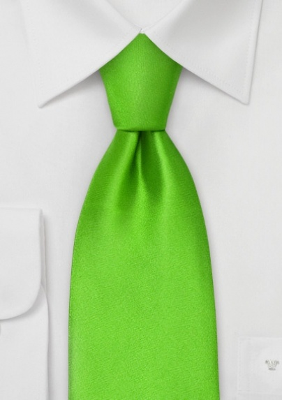 Solid Bright Lime-Green Silk Tie