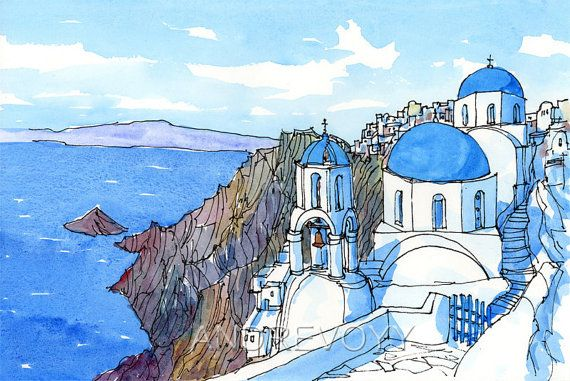 Watercolour, Original paintings and Greece on Pinterest