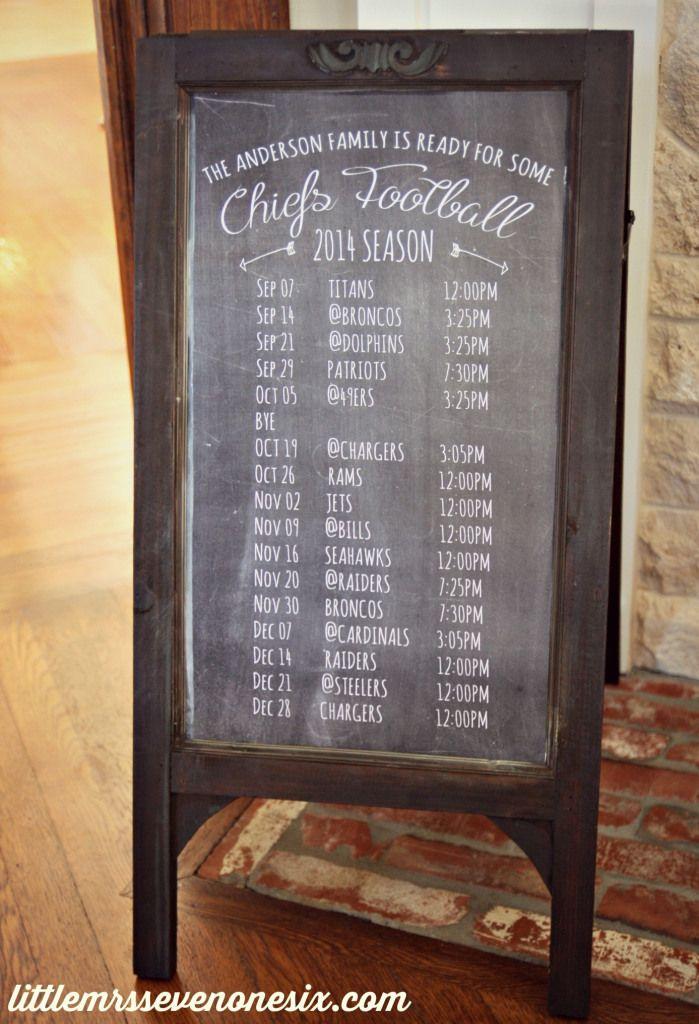 Football schedule chalkbaord