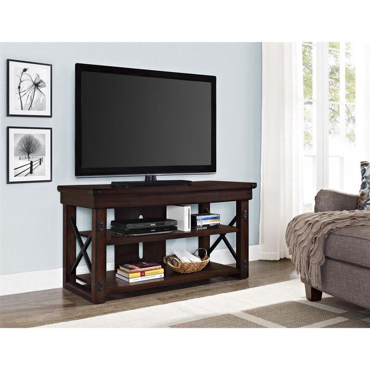 Ameriwood Home Wildwood Mahogany Veneer 50-inch TV Stand (50-inch TV stand, mahogany), Black