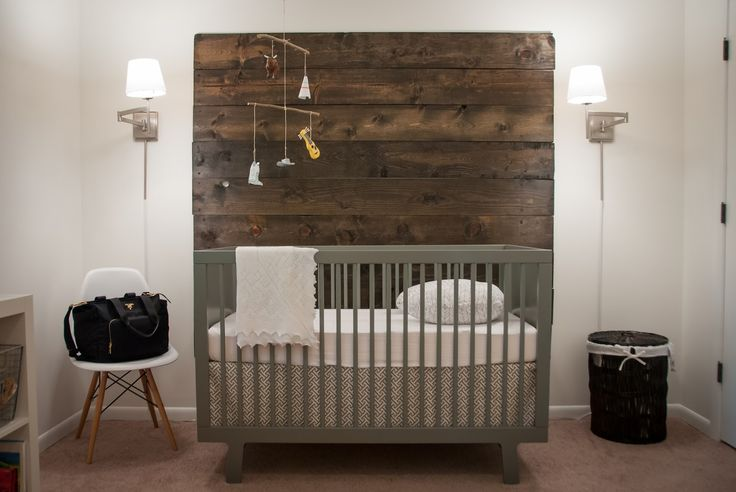 my mom bought us this crib in white...do you think we could do something woody like the picture?
