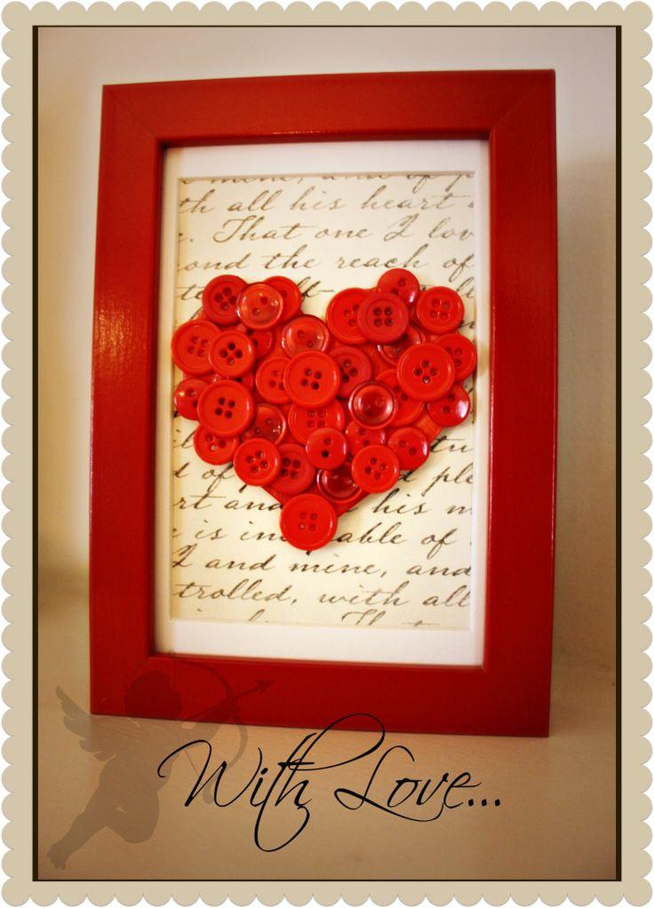 {I Heart V-day} DIY Button Framed Art
