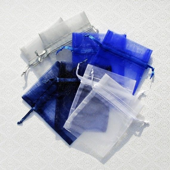 Organza Bags 3x4 inch 100 multi color, Winter Collection, Navy, Royal Blue, White and Silver