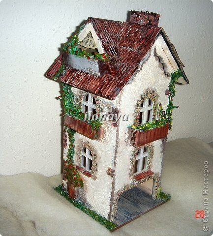 Декор предметов Поделка изделие Декупаж Лепка Чайные домики Дерево Картон гофрированный Клей фото 6