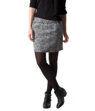 Mini-jupe zébrée imprimé noir - Promod