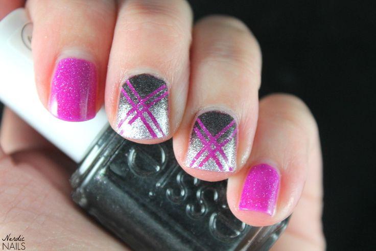Nerdic Nails. Glitter nail tape stamping.