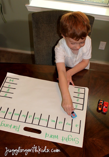 Juggling With Kids: Sight Word Parking Lot: Sight Words, Idea, Sightwords, Word Parking, Parking Space, Kids, Lot Game