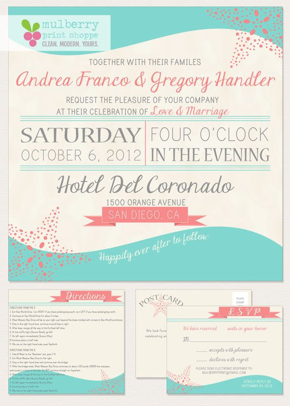 17 Best images about Wedding Invitations Modern Beachy on – Modern Beach Wedding Invitations