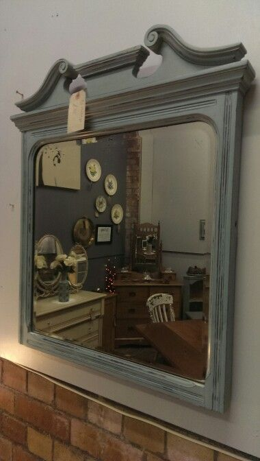 Lovely old repurposed dressing table mirror painted in ASCP duck egg blue £55