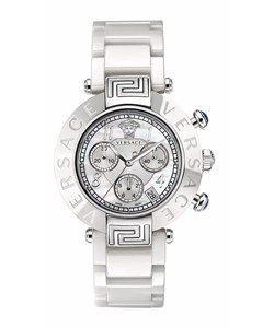 Versace Versace Reve Mother Of Pearl Dial Chronograph White Ceramic Bracelet Watch